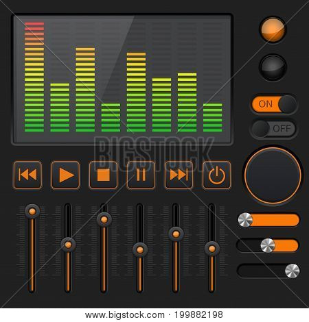 Sound equalizer with slider and media player buttons. Black and orange collection. Vector illustration
