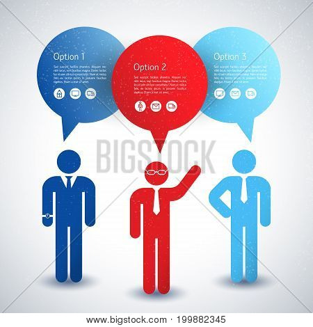 Male business people wearing dress code concept in blue and red color flat vector illustration