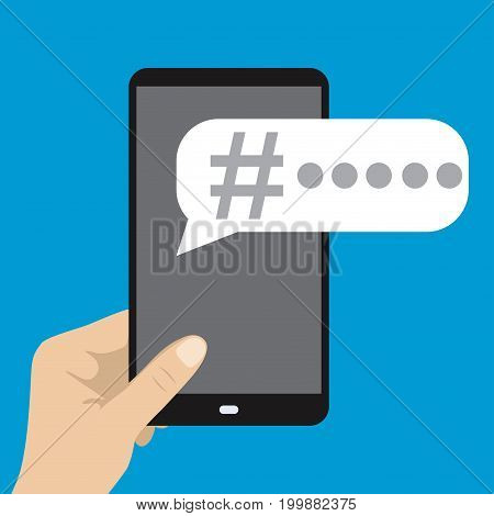 Smart Phone In Hand And Hashtag In Speech Bubble