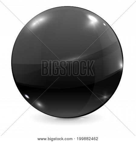 Black glass ball. Vector illustration isolated on white background