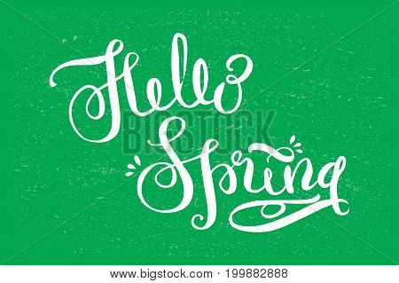 Hello Spring - Hand Drawn Lettering.