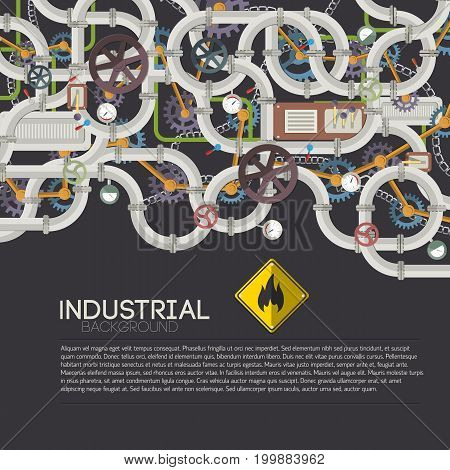 Industrial pipe system background with text metal tubes valves taps wheels gears chain vector illustration