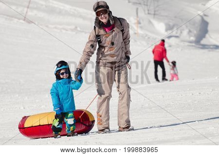 Winter Outdoor Activities, White Background. Color Image.