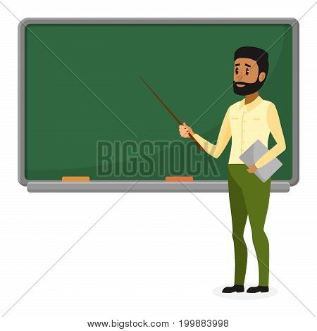 Young Arab teacher in modern clothes standing near blackboard in classroom at school, college or university. Flat design cartoon brazil or muslim male character