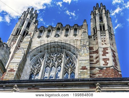 NEW HAVEN, CONNECTICUT-JUNE 24, 2017 Twin Towers Sterling Law School Building Yale University New Haven Connecticut. Completed in 1931 and one of the best US law schools