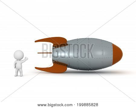3D character showing a large rocket. Isolated on white background.