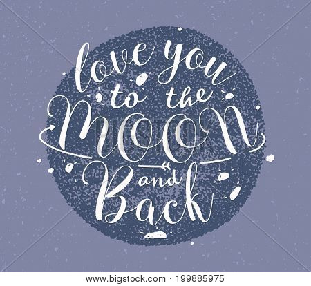 Love you to the moon and back hand drawn lettering. Monochrome vector illustration on purple background.