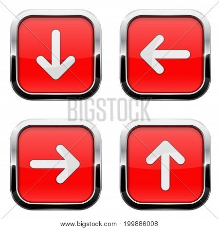 Red buttons with arrows. Square 3d icons with chrome frame. Vector illustration isolated on white background