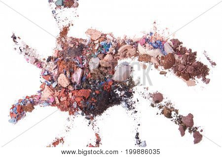 mixed crushed eyeshadows isolated on white background