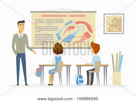 History lesson at school - modern cartoon people characters illustration with a young teacher and schoolchildren. An image of modern school and classroom with visual aids, map, bags, desk, tubes