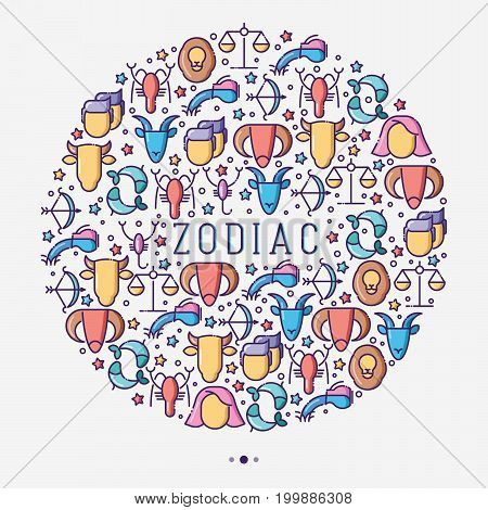 Zodiac signs concept in circle with thin line icons for banner with horoscope, web site or background. Vector illustration.