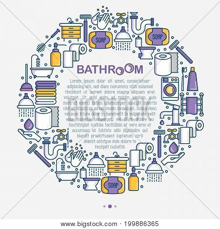 Bathroom equipment concept in circle with thin line icons. Hygiene, purity, beauty, plumber related icons. Vector illustration for banner, web page, print media.