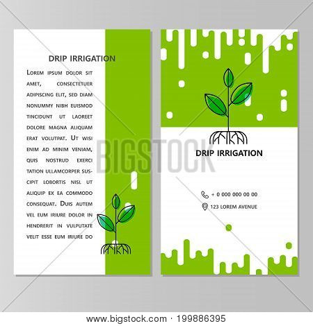 Drip irrigation. Brochure, flyer, business card with space for text.