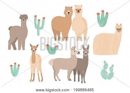Cute Lama, Alpaca and cactuses set. Hand drawn cartoon colorful vector illustration.
