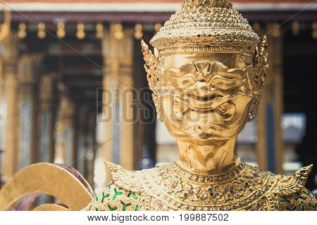 Demon Guardian/ Giant Statues Stand Around Golden Pagoda Phra Kaew
