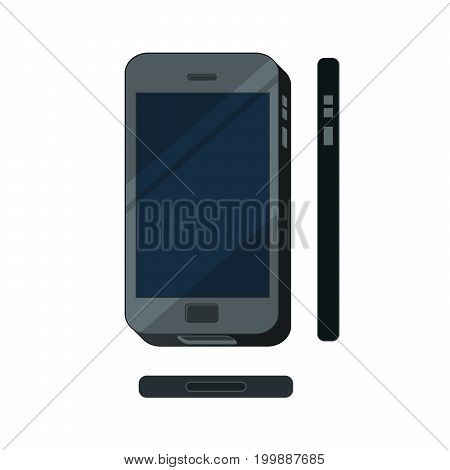 Flat mobile phone concept illustration isolated. Touch phone, display vector