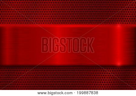 Red metal perforated background with square holes. With red stainless steel plate. Vector 3d illustration