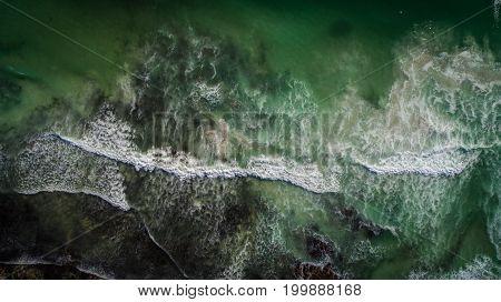 Aerial View Of The Rugged Coastline Allong The Gansbaai / De Kelders Coast Line In The Overberg Regi