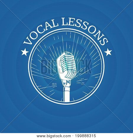 Vector vocal lessons logo with retro microphone on vintage sunburst background. Music vintage banner school illustration