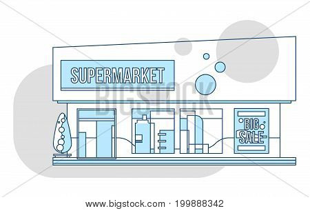 Supermarket showcase and ads illustration, thin line style. Business retail market vector