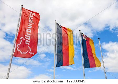 Nurburg Germany - May 20 2017: Flag at race track Nurburgring labeled with