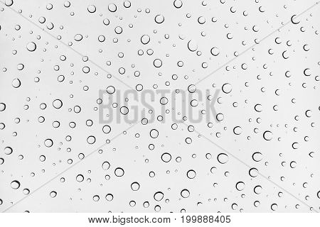 Close up water drops on a glass background