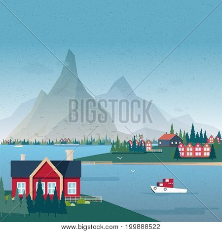 Norwegian landscape panorama. Bay view with buildings and boat. Colorful vector illustration