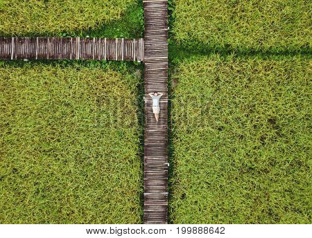 Top view, a guy relaxing on wooden footpath in green rice field, happy weekend in countryside
