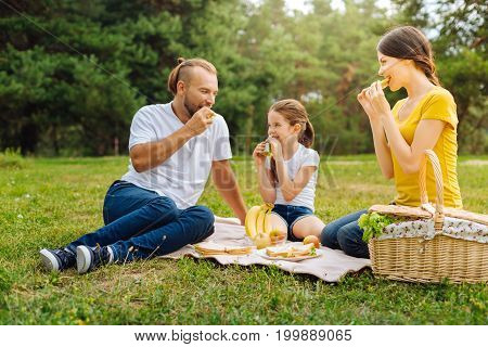Tasty snacks. Lovable young family sitting on the grass in the sun-drenched forest meadow and eating delicious sandwiches
