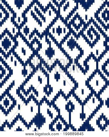 Ethnic abstract geometric ikat pattern in blue and white, vector background