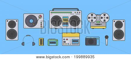 Sound systems retro collection. Portable player, headphones, cassette player, stereo system, speakers, record player, tape recorder, mic, radio, vinyl player Colorful vector line art illustration set