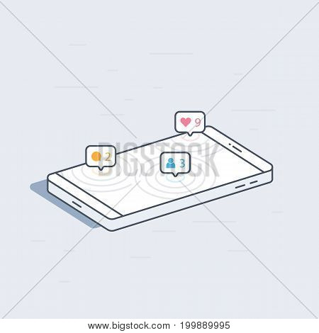 Isometric mobile phone with social network notifications concept. Colorful modern vector illustration