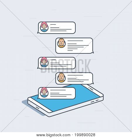 Isometric mobile phone with chat messages, notifications concept. Colorful modern vector illustration