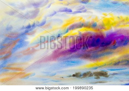 Abstract watercolor landscape original painting on paper colorful of beauty in nature with cloud sky and emotion in ozone fluffy