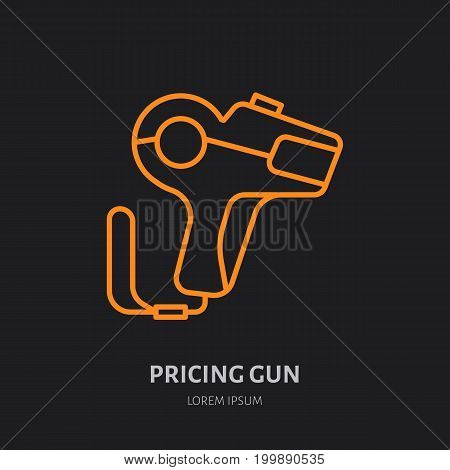 Pricing gun vector flat line icon, shop equipment sign.