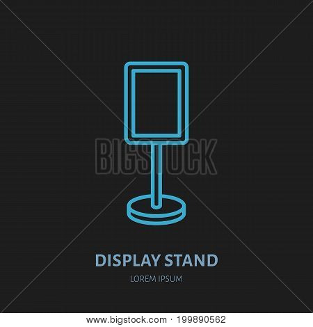 Display stand line icon. Advertising exhibition, promotion design element. Trade objects flat sign.