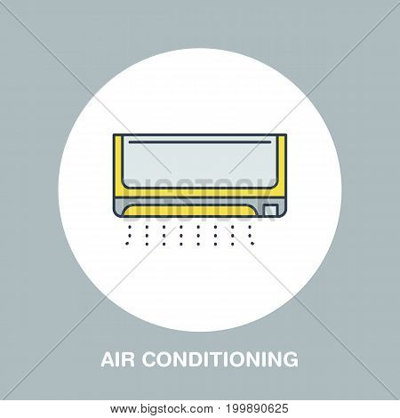 Household supply line logo. Flat sign of air conditioning, conditioner. Vector logotype for ventilation shop.