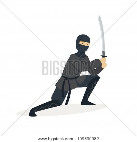 Ninja assassin character in a full black costume standing in a combat pose with katana sword, Japanese martial art vector Illustration on a white background