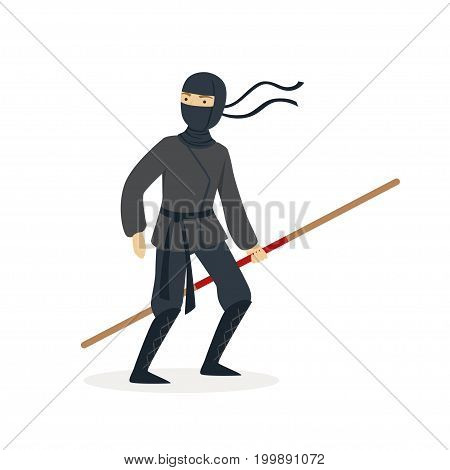 Ninja assassin character in a full black costume standing with bamboo training sword in his hand, Japanese martial art vector Illustration on a white background
