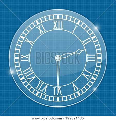 Clock face. On blueprint background. Vector illustration