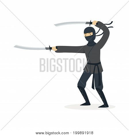 Ninja assassin character in a full black costume fighting with katana swords, Japanese martial art vector Illustration on a white background