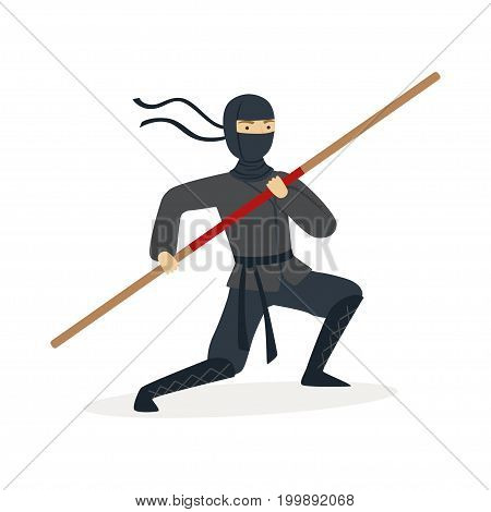 Ninja assassin character in a full black costume training with bamboo sword in his hand, Japanese martial art vector Illustration on a white background