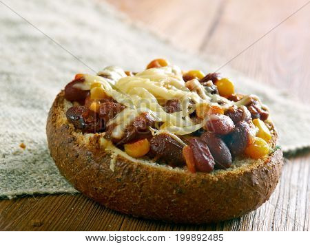 Super Chorizo Chili Bowls. New Mexico close up traditional meal