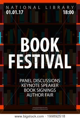 Poster Book Festival. Book Shelf Or Bookcase. Vector Illustration.