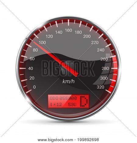 Speedometer. 90 km per hour. Vector 3d illustration on white background