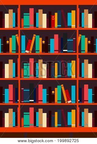 Poster Book Shelf Or Bookcase Background. Vector Illustration.