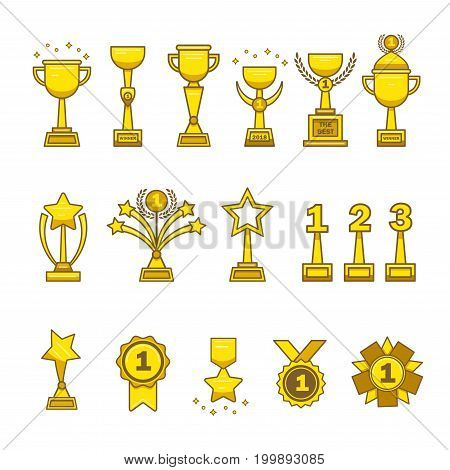 Gold awards cups medals set. Collection of golden trophies, cups, medals, statues for designers and illustrators. A lot of awards in the form of vector illustrations
