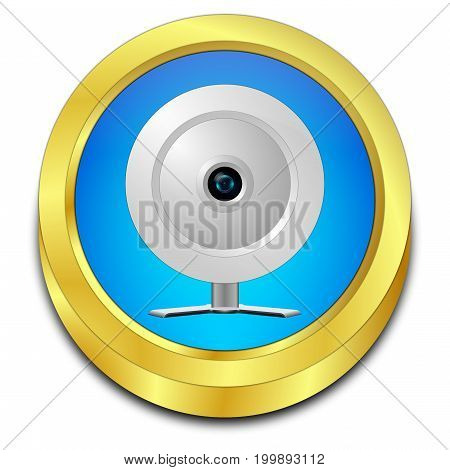 golden blue Button with Webcam - 3D illustration