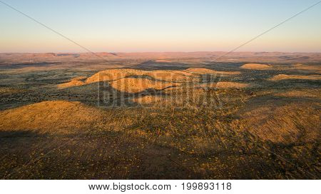 Aerial View Over The Kalahari In South Africa At Sunrise.