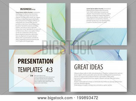 Set of business templates for presentation slides. Easy editable layouts, vector illustration. Colorful design background with abstract waves